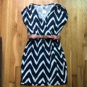 Chevron print wrap dress with belt